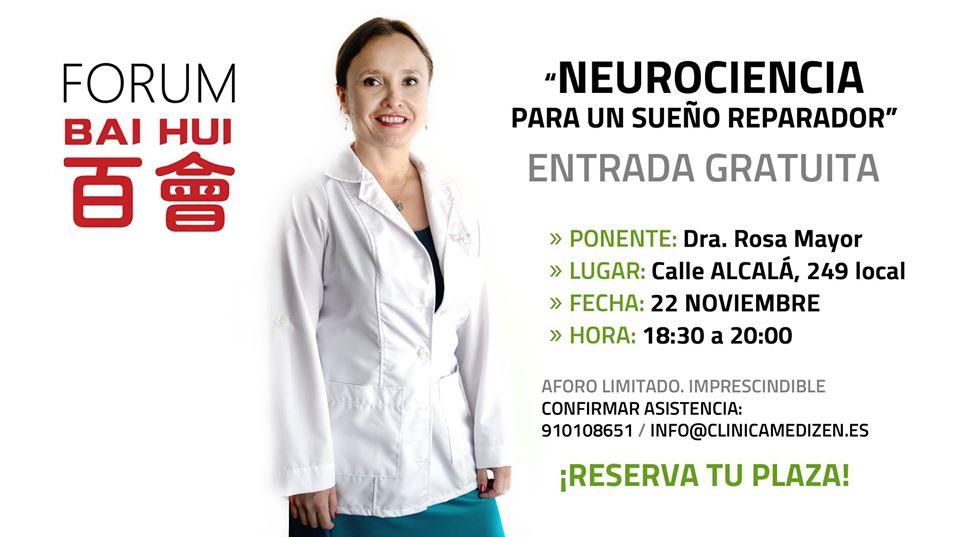 """Jornada gratuita """"Neurociencia para un sueño reparador"""" (Dra. Rosa Mayor)"""